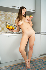 Brunette angel playing