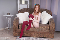 Redhead babe in red socks